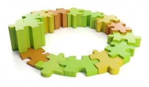 3d Illustration: Business ideas. Group puzzles in a circle, care